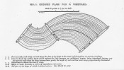 This black and white drawing shows plan for a vineyard with terracing.