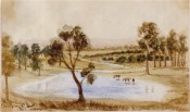 The watercolour painting shows a lagoon with horses in the foreground, a cottage to the left and a vineyard in the background.